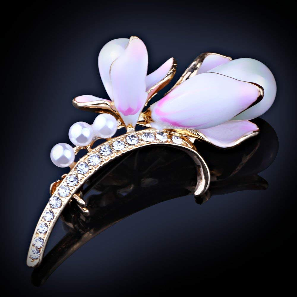 Fashion Jewelry Exquisite Natural Shell Beads Enamel Flower Brooches for Women Rhinestone Brooch pins-in Brooches