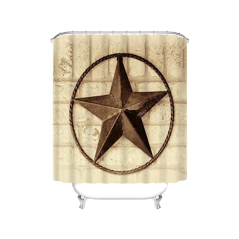 Western Texas Star Polyester Bathroom Shower Curtain