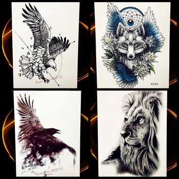 Flying Eagle Temporary Tattoo Black Sketch Waterproof Henna Tattoo Stickers 21*15CM Men Women Body ARt Tatoo Arm Sleeve