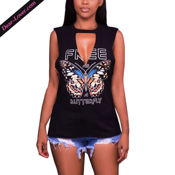 Wholesale Fashion Women Black Freely Slash Butterfly Print Tank Top