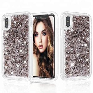 Hybrid Silver Rose Gold Flakes Foil Phone case For Iphone X