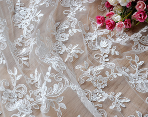 white colour polyester material bridal lace Appliques Wedding Dresses cord lace fabric