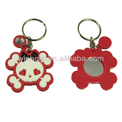 pink skull key chain/keyring with mirror