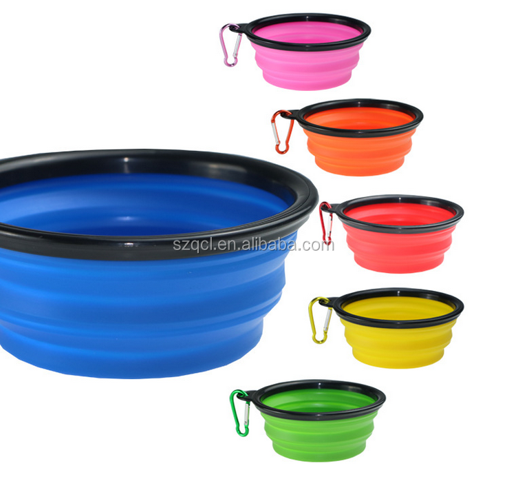 Collapsible Silicone Dog Bowl Food Grade Silicone BPA Free Foldable Expandable Cup Dish Pet Raised Dog Cat Food Water Feeding