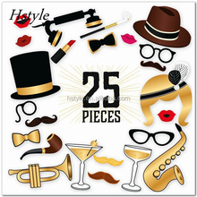 25PCS Great Gatsby Roaring 20's Inspired Photo Booth Props On a Stick - For Vintage or Hollywood Themed Parties, Events PFB0501