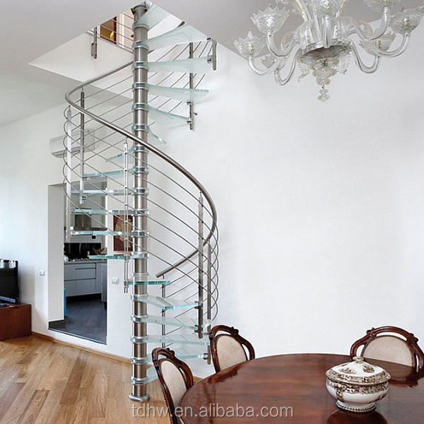 fashion small space saving spiral stairs design with stainless steel railings