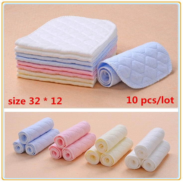 10 pcs / lot 4 color Baby Diapers Washable reusable Baby modern Cloth nappies care 3 layers insert Size 13*32 nappy for newborns