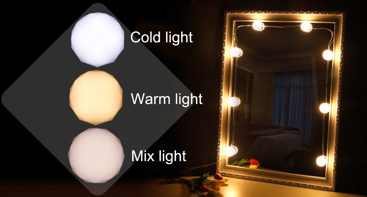 Hollywood Style 10pcs  Makeup Mirror Vanity LED Light Bulbs Kit with USB Cable Power Supply Vanity Mirror Lights
