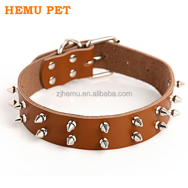 2017 hemu adjustable dog collar genuine leather spike studs dropshipping pet supplies