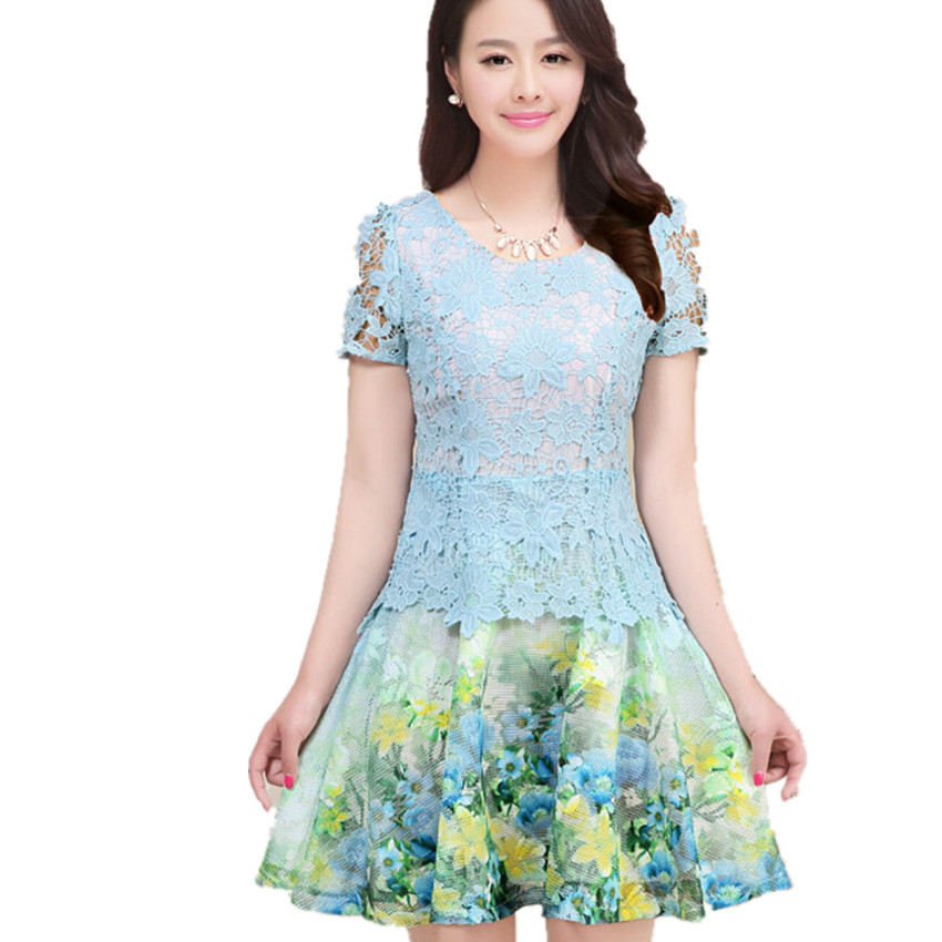 6279c28d0127e 2015 korean style plus size short sleeve ladies summer dress cute floral  crochet lace dress vestido M-XXL size free shipping