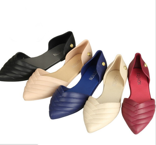 d056b01ab Get Quotations · Women new summer candy pointed toe shallow mouth jelly  sandals woman flat slipper footwear shoes sandalias