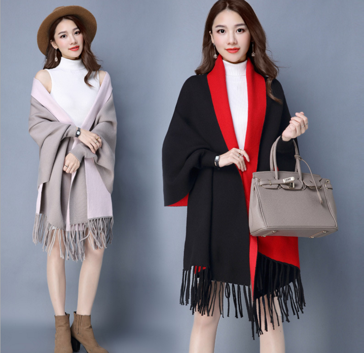 2017 autumn and winter women new sweater knitted cardigan double - sided tassel cloak women' s jacket