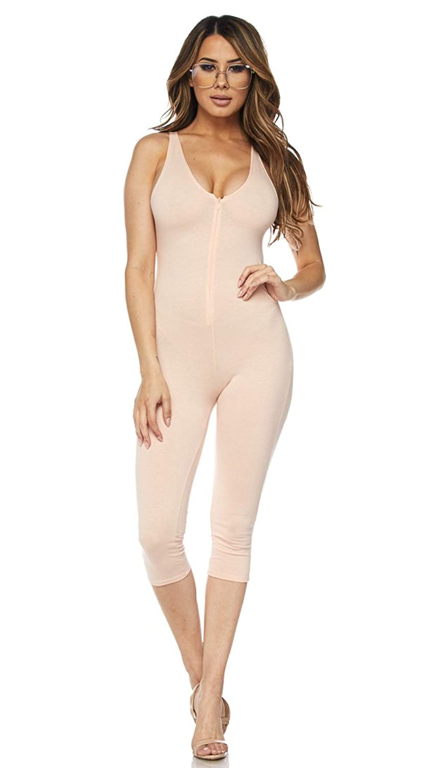 a250473073 Get Quotations · SOHO GLAM Blush Sleeveless Capri Unitard