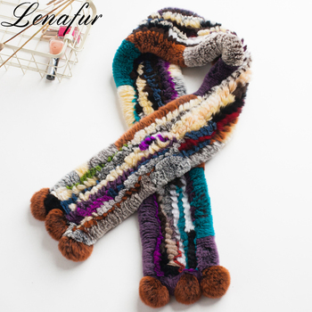 Winter Italian Retro Vintage Style Knit Colorful Real Rex Rabbit Fur Circle Wrap Neck Shawls Scarf