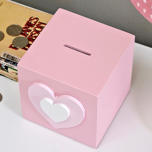 children wooden money box pink saving box