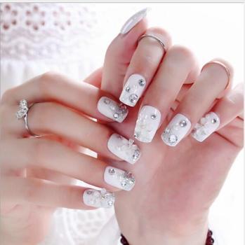 Short Acrylic French Nails Simply Shiny Beige White False Nail Tips Designed Art Daily