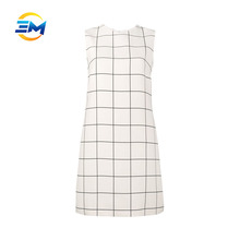 OEM women sleeveless round collar silk wool shift midi tartan dress