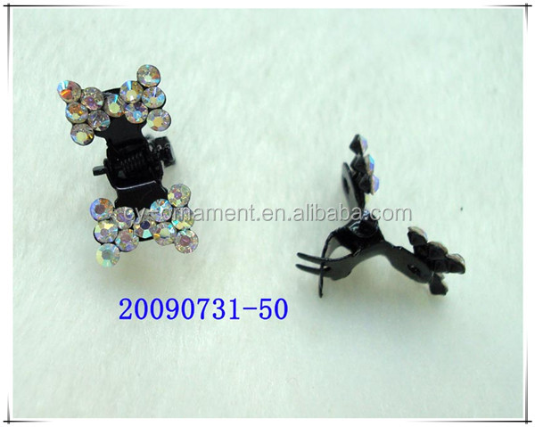 Factory price butterfly style alloy setting crystal mini claws jaw hair clips