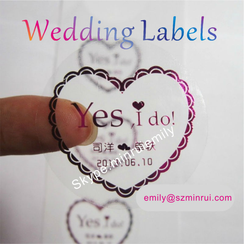 Custom round transparent labels stamped with redgoldsilverclear labels embossed with
