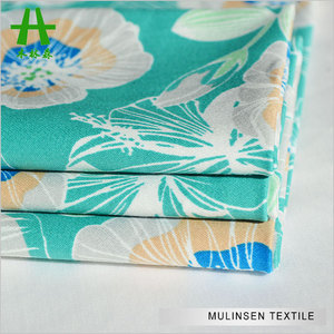 Mulinsen Textile Pure Flower Printed 32s Spandex Sateen Japan Fabric Cotton