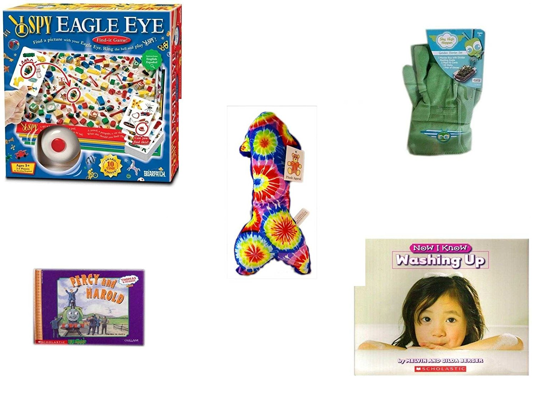 "Children's Gift Bundle - Ages 3-5 [5 Piece] - I SPY Eagle Eye Game - Sky High Hopper Garden Starter Set - Plush Appeal Blue Tie Dye Arrow Plush 10.5"" - Thomas & Friends: Percy Runs Away / Percy and"