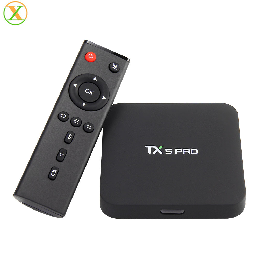 Amazon Hot Selling TX5 Pro Amlogic S905X Android 7.1 Quad core 1080p 4K 2.4G&5.8G WiFi BT4.0 Smart Android Tv Box, Black