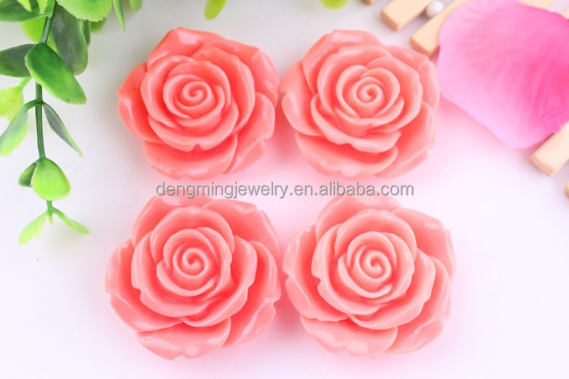 Factory direct Sell!!!! Fashion large resin flower beads with hole for jewelry making!!