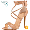 Phoees Ladies New Arrival Open Toe High Heel Stiletto Shoes Handmade Rivet Summer Party Dress Wedding Sandals