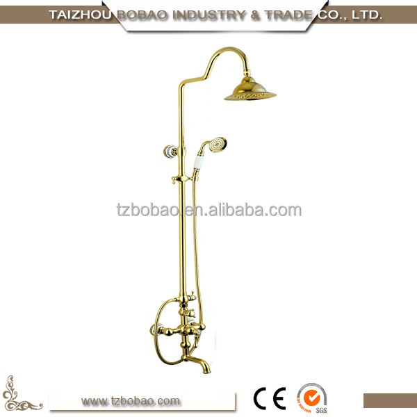 Decaration Traditional New Design Antique Brass Wall Mounted Shower Faucet Set Vintage Surface Bath Rain Shower Set