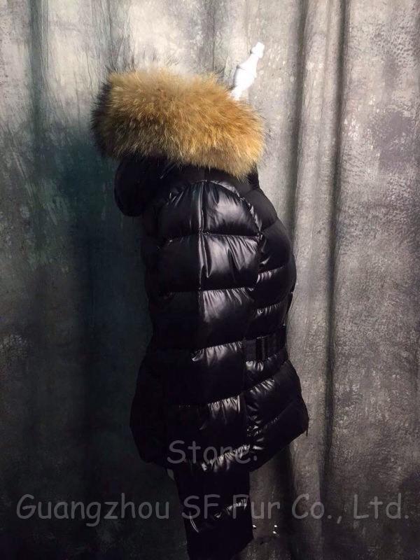 Зима пальто утка пуховик, зима пальто женщины черный куртки настоящее большие енот мех воротник толстый мягкий Lining пуховик и парки винно-красный