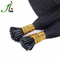 Top Quality Keratin I Tip Hair Genuine Human Hair 8A Grade Pre-Bonded Black Color I Tip Hair Extensions Only for High-End Market