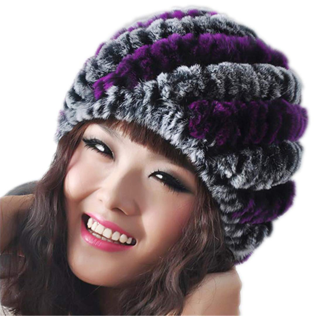 100% Real Natural Rex Rabbit Fur Cap Winter Knitted Real Rex Rabbit Fur Hat Fur Beanies