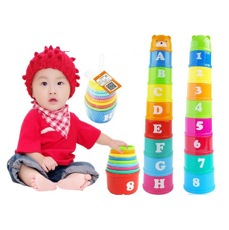 Early childhood music upon layer upon layer Cup cups stacked layers of condom puzzle force children