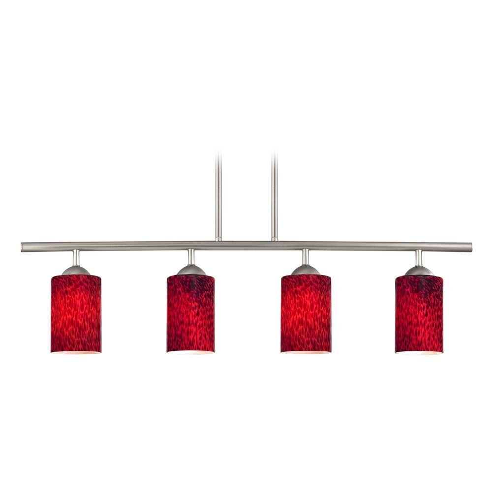 Modern Linear Pendant Light with 4-Lights and Red Glass in Satin Nickel Finish