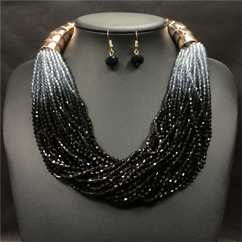 793fb3a23 Wholesale Fashion Costume Jewelry Bohemian Multilayer Colorful Bead  Statement Necklace Earrings Set