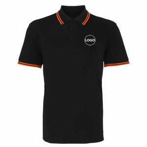 Custom Made Men's Black Orange Polyester / Cotton Knitted Short Sleeve Polo T Shirts Work Uniform
