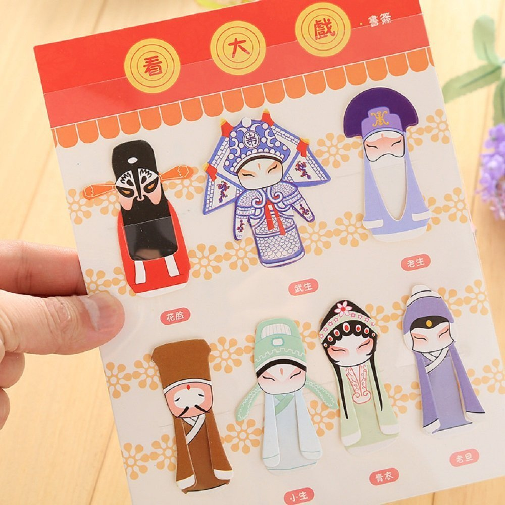 Chinese Style Paper Bookmark for Peking Opera Mask Series Set of 7