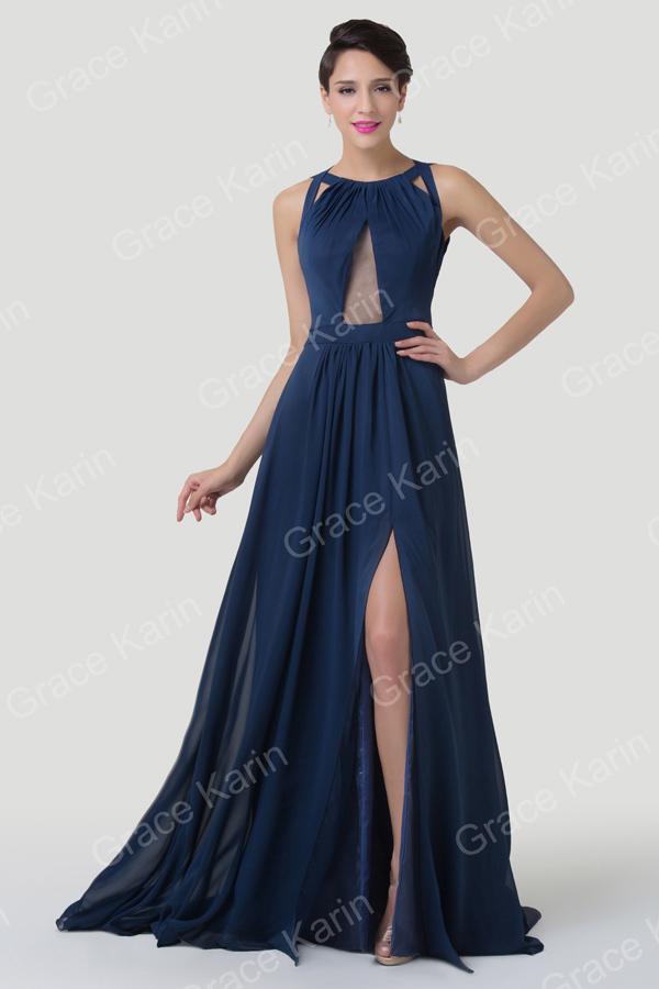 Grace Karin Fashion Backless Split Navy Blue Special Long Evening ...