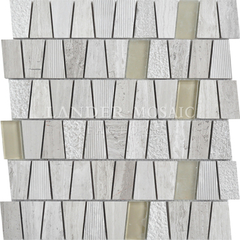 Marmo Mosaico E Mosaico Di Vetro Misto Irregolare Mattonelle Di Mosaico  Vista 3D Muro Di Piastrelle