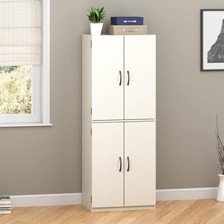 Mainstays Storage Cabinet With Two Adjustable Shelves and One Fixed Shelf, White Finishes
