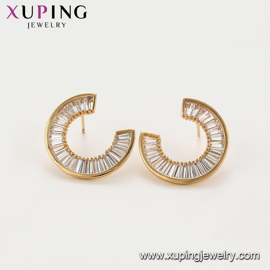 97095 xuping wholesale personalized style gemstone earring elegant gold plated women jewelry