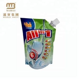 Custom Logo Design Refillable Green Packaging Spout Pouch Plastic Drinking Water Bag For Grocery/Retail Store