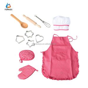 11pcs kids cosplay costumes,ages 3-7 years old girls apron cooking role play toy set