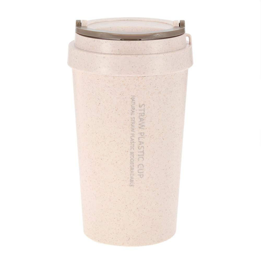 2019Hot Selling 3 Colors 400 ml Portable Reusable Food-grade Wheat Straw&PP Coffee Mug Cup Water Mug For Drinking, Purple;brown;blue;green;pink (customized color acceptable)