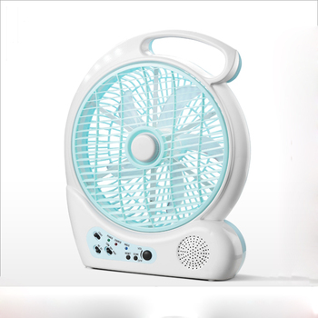 10inch popular plastic radio rechargeable fan with light
