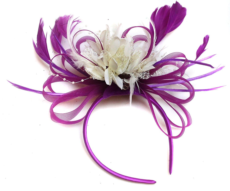 0b587245b10da Get Quotations · Plum Magenta and Cream Ivory Turquoise Feather Hair  Fascinator Headband Wedding Royal Ascot Races Ladies