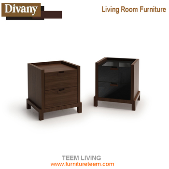 Modern Freestyle Wooden Drifted Black Bedside Table