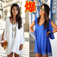 Hot Sale Women V-Neck Chiffon Loose A One-Piece Dress With Slit Long Sleeve