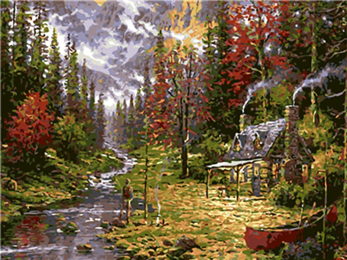 Shukqueen Diy Oil Painting, Adult's Paint by Number Kits, Acrylic Painting The Cabin in The Wild 16X20 Inch (Frameless)