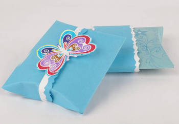 Blue Paper Gift Pillow Box